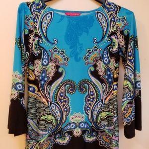 Sunny Leigh XS Tunic Aqua & Black Paisley Print